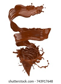 Chocolate splash and spinning into a storm shape, liquid spiral shape 3d illustration with clipping path.