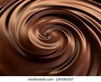 Chocolate swirl.3d illustration.