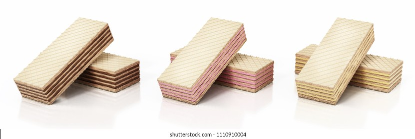 Chocolate wafers isolated on white background. 3D illustration.