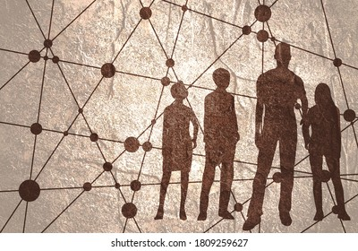 The choice of the best suited employee. Human silhouettes. HR job seeking concept. Modern futuristic virtual abstract background. Connected lines with dots