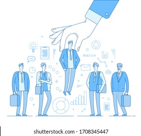 Choice employer. Hand choosing man from selected people group. Human recruitment hunting, selecting choicing candidate concept