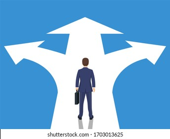 Choice way concept. Businessman before choosing. Crossroads arrows. Decide direction. Human standing choice of ways. illustration flat style raster version