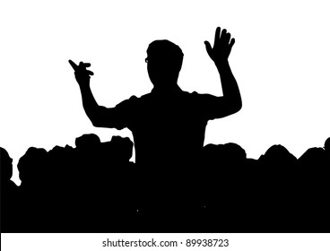 a Choir with conductor, silhouette