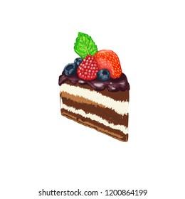 Chokolate cake with berry, blueberry, chocolate, strawberry