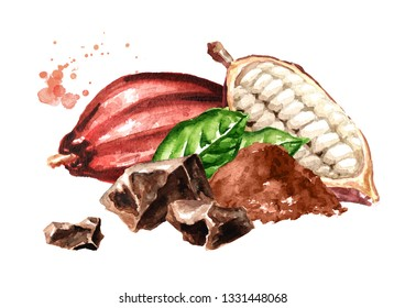 Chokolate pieces with Cocoa  pod and green leaves. Superfood. Watercolor hand drawn illustration, isolated on white background