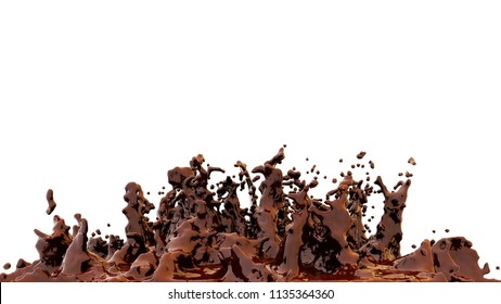 Chokolate splash isolated on a white background. Chocolate background. 3d rendering. High resolution.