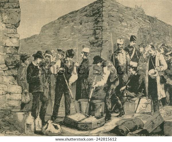 フランスでコレラが流行した1884年。公衆衛生員は、海上旅行者のために ...