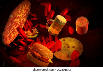 Cholesterol blocked artery, medical concept with a human blood vessel clogged by unhealthy eating fat food as hamburgers, pizza, ice cream and fried foods,health risk for obesity nutrition problems