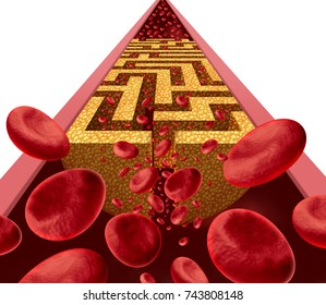 Cholesterol disease challenge and clogged artery medical coronary health risk as a blockage in arteries shaped as a maze or labyrinth with narrow blood cell flow as a 3D render.