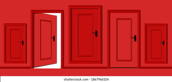 Choose a choice or opportunity concept door. Realistic door vs fake doors, make a decision or take a choice concept and testing a doorway concept. one opened door in many fake closed doors. 3d render