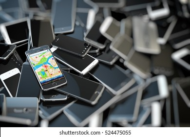 Choose mobile phone. Heap of the different smartphones and one with gps application on the screen. Modern technology concept background. 3d illustration