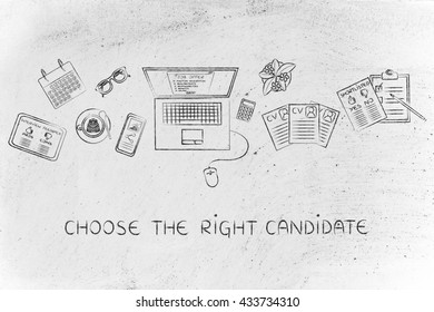 choose the right candidate: recruiter desk with mixed resumes and shortlists for the job offer on laptop screen