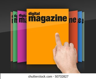 choosing edition of digital magazine on touch screen
