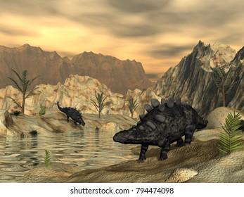 Chrichtonsaurus dinosaurs - 3D render