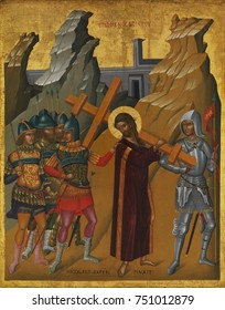 CHRIST BEARING THE CROSS, by Nicolaos Tzafouris, 1475-99, Byzantine, Cretan oil painting. Surrounded by soldiers, Christ bears his cross to Golgotha. The work is a hybrid of Greek Byzantine and Italia