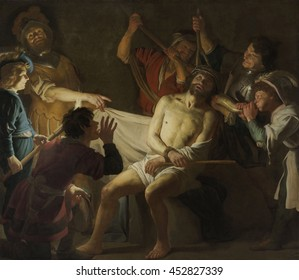 Christ Crowned with Thorns, by Gerard van Honthorst, c. 1622, Dutch painting, oil on canvas. Mocking of Christ by Roman soldiers. who placed a crown of thorns on his head