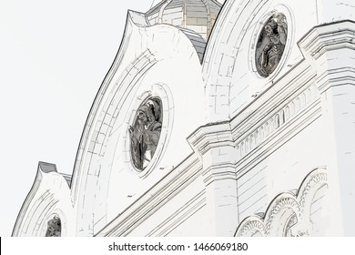 Christ the Savior Cathedral. Moscow. Russia. Details. Locket. Design in the style of pencil  painting on white background.
