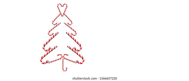 Christas tree made of sweet candy canes isolated on white background - christmas panorama banner