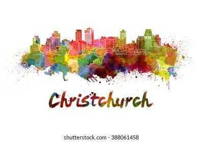 Christchurch skyline in watercolor splatters with clipping path