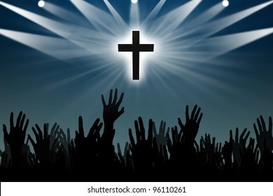 Christian Background: Silhouettes of hands worshiping Jesus