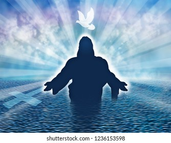 Christian baptism illustration concept with dove and man silhouette in the sea