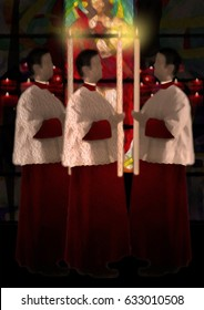 Christian catholic altar boys or servers in red cassock and white surplice, carrying a lit candle in a church