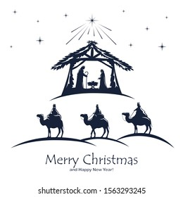 Christian Christmas. Birth of Jesus, shining star and three wise men on white background. Illustration can be used for holiday design, cards, clothing or things design, invitations, postcards, banners
