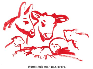 Christian Christmas card Jesus Christ child in manger and nativity scene among animals. Abstract modern graphics