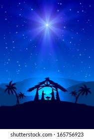 Christian Christmas night with shining star and Jesus, illustration.