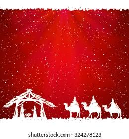 Christian Christmas scene on red background, illustration.