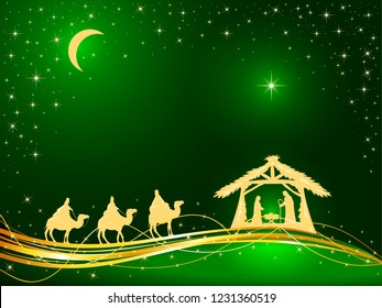 Christian Christmas theme. Birth of Jesus, shining star and three wise men on green background, illustration.
