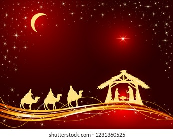 Christian Christmas theme. Birth of Jesus, shining star and three wise men on red background, illustration.