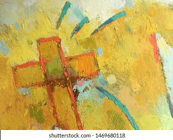 Christian concept in handmade style on the canvas. Illustration of Christology. Yellow painting background with Christian cross symbol. Abstract Catholic background. Light texture for Bible theme.