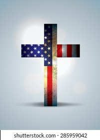 A christian cross comprised of the American Flag. Religious patriotic theme.