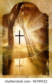 Christian cross in the forest,lake and light on grunge,old paper background to easter