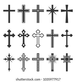 Christian Cross Icons Set on White Background.