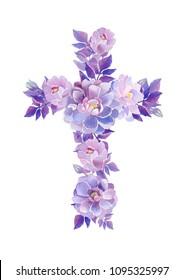 Christian cross made of dahlias beautigul purple flowers. First communion cross. Cross for Christian, Baptism,Easter invitations.