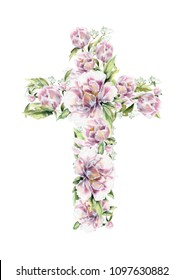Christian cross made of peony flowers. First communion cross. Cross for Christian, Baptism,Easter invitations. Cross on white.