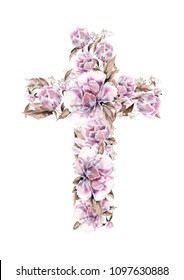 Christian cross made of peony flowers. First communion cross. Cross for Christian, Baptism,Easter invitations.