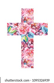 Christian cross made of rose watercolor flowers. First communion cross. Cross for Christian, Baptism,Easter invitations.