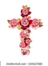 Christian cross made of watercolor roses nice flowers. First communion cross. Cross for Christian, Baptism,Easter invitations.
