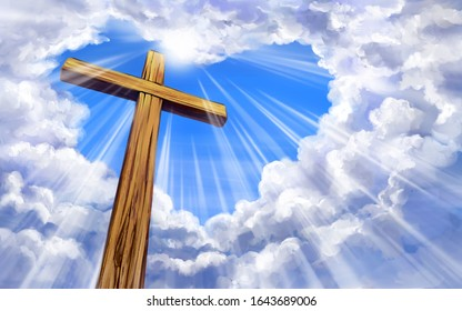 Christian cross on the background of the sky with clouds in the shape of a heart. Holy easter. Christian symbol of faith, art illustration painted with watercolors