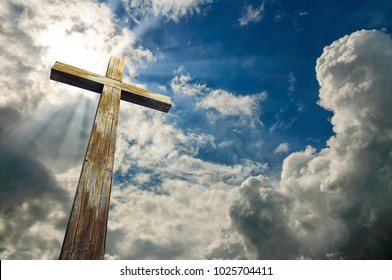 Christian  cross on sky background with clouds, 3D illustration, Happy Easter. Christian symbol.