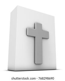 christian cross and white box - 3d rendering