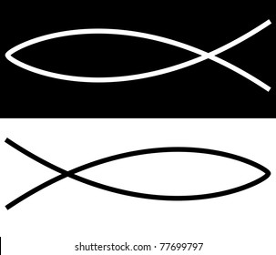 christian fish illustration showing religion or church concept