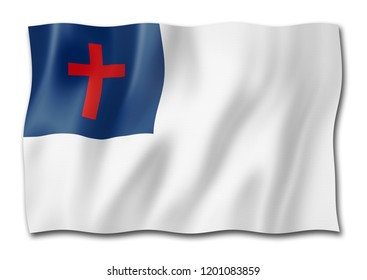 Christian flag, three dimensional render, isolated on white