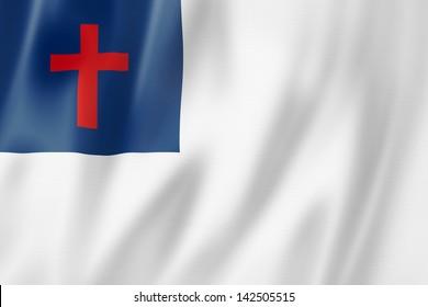 Christian flag, three dimensional render, satin texture