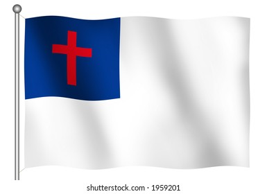 Christian Flag Waving (With Clipping Path)