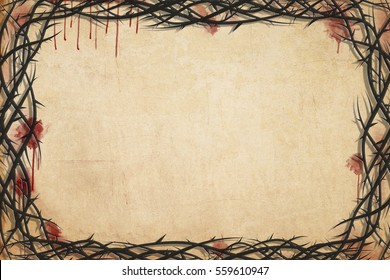 Christian Holy week or Lent season, Passion of Christ background frame with copy space for text, with blood stains and crown of thorns on old parchment