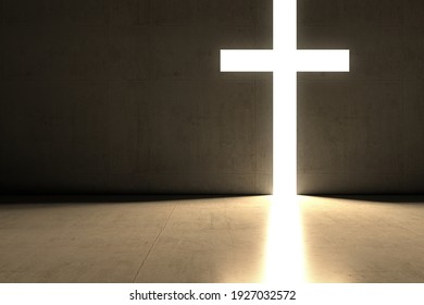 christian light cross and dark room 3d render with copy space for text